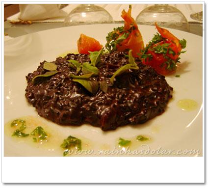Risoto de arroz negro com manteiga-de-garrafa e Catupiry