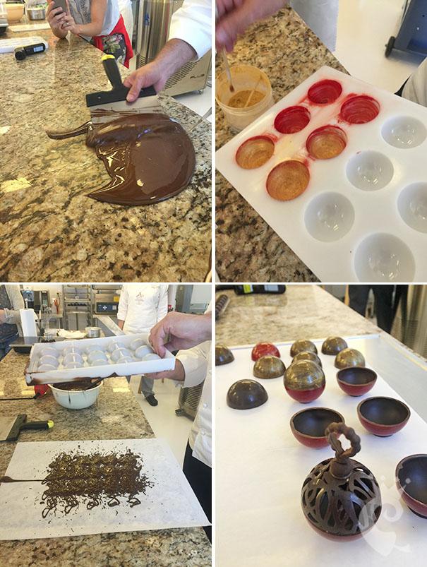 Bolas de Natal de Chocolate recheadas com Ganache